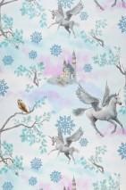 Wallpaper Akeleia Shimmering pattern Matt base surface Unicorns Ice Flowers Owls Castles Branches Pale pink Green white Grey white Light grey glitter Orange brown   Pastel blue glitter Turquoise glitter