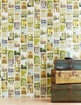 Wallpaper Karlina Matt Buildings Objects Cats People Cream Beige Beige grey Green Pastel blue Sun yellow
