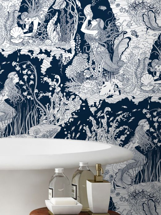 Dupenny Wallpaper Mermaids dark blue Room View
