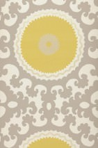 Wallpaper Aton Matt Baroque elements Circles Cream Grey beige Light grey beige Lemon yellow
