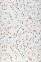 Papier peint Gudena Mat Vrilles de fleur Papillons Vert blanc Brun Vert foncé Gris Rosé pâle