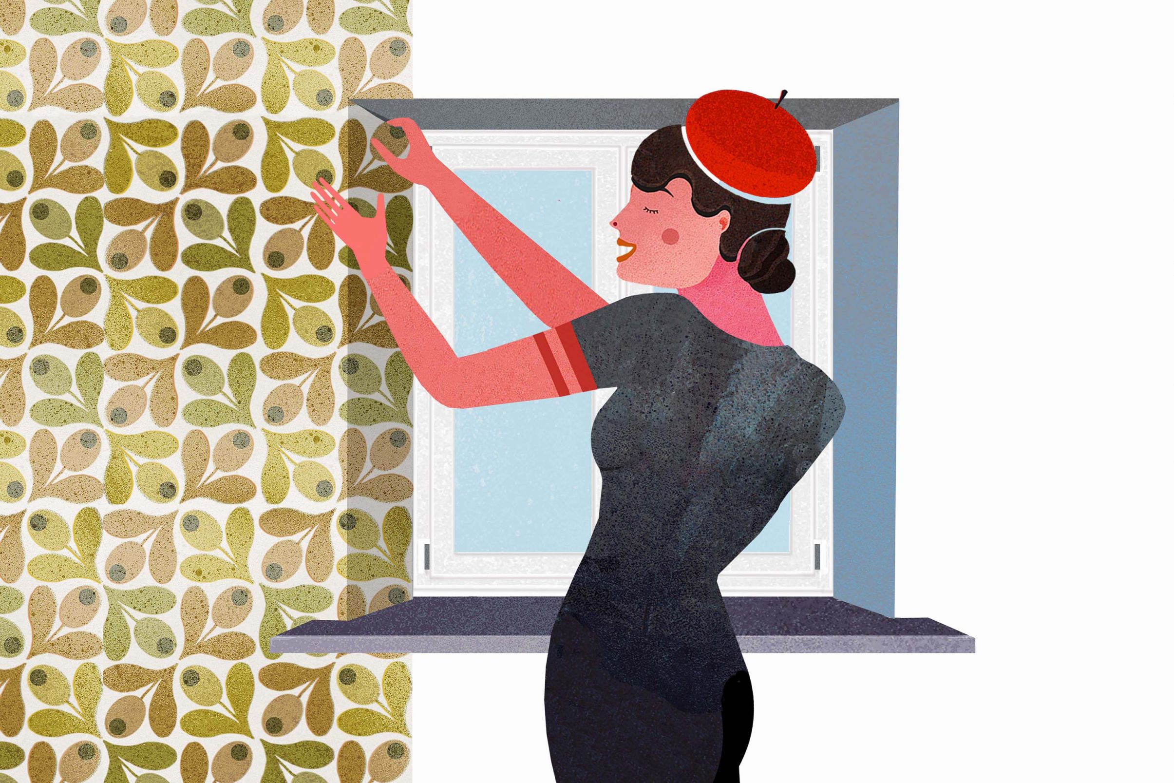 How-to-apply-wallpaper-around-windows-and-doors-Apply-wallpaper-with-an-overlap-around-the-windows-place-cuts-in-corners-and-fold-inwards