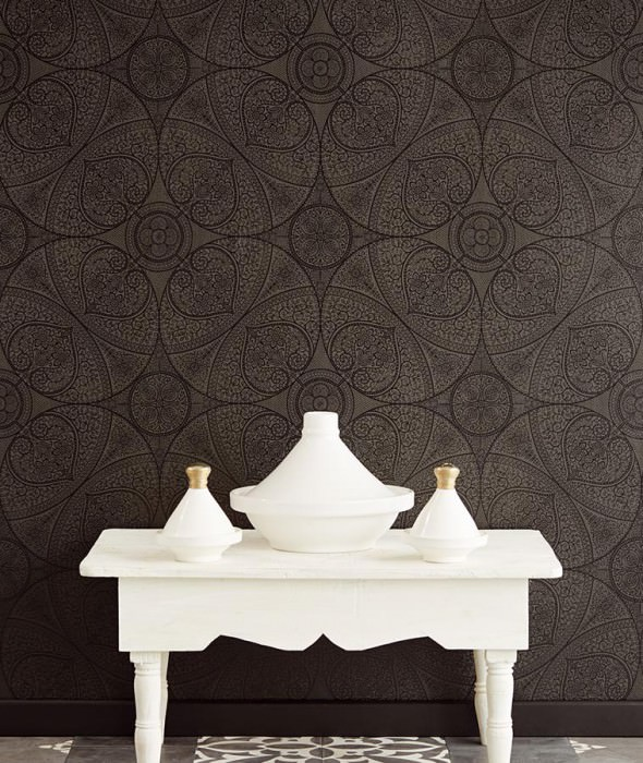 Wallpaper Kassandra Matt Floral damask Geometrical elements Dark grey Black shimmer