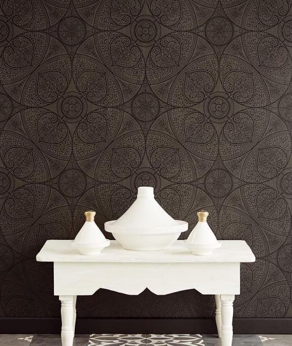 Wallpaper Kassandra Matt Floral damask Geometrical elements Dark grey Black shimmer