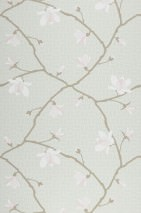 Wallpaper Calista Hand printed look Matt Magnolia branches Pale mint green Grey beige White Pale pink