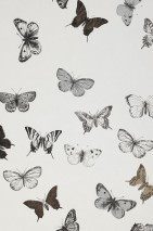 Wallpaper Vanesa Matt Butterflies White Light grey Pearl beige Black grey Sepia brown