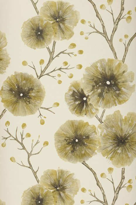 Wallpaper Cerna Matt Branches with leaves and blossoms Cream Curry yellow Grey brown Green beige Olive grey
