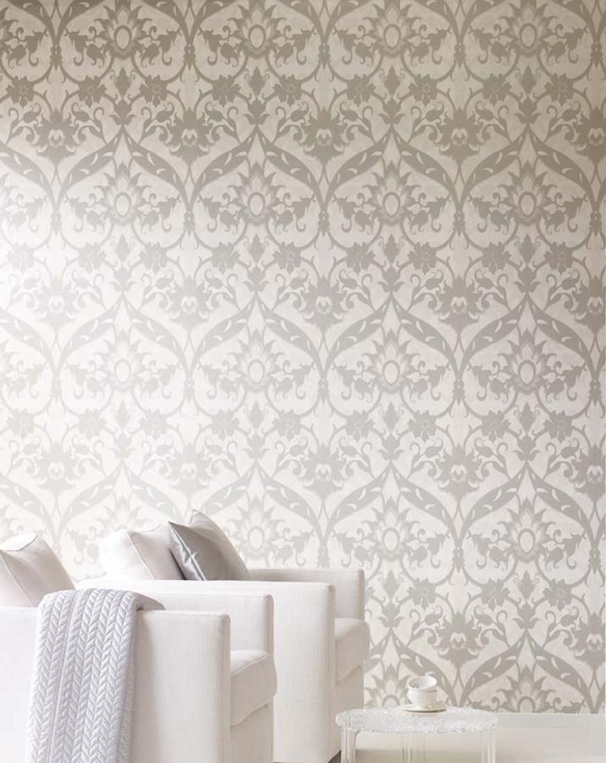 tapete pomona cremeweiss blassbraun blassgraubeige silber metallic tapeten der 70er. Black Bedroom Furniture Sets. Home Design Ideas
