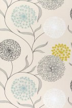 Wallpaper Ganesha Matt Flowers Light ivory Yellow green Grey Turquoise White
