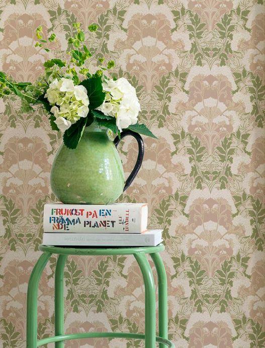 Papel pintado clásico Papel pintado Enna beige grisáceo Ver habitación