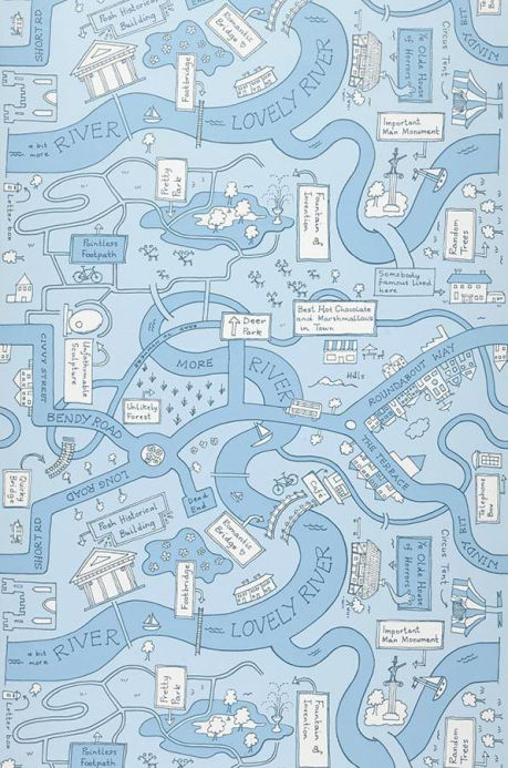 Archiv Wallpaper City Map light blue Roll Width