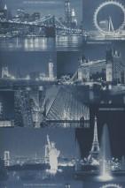 Papel pintado Arturo Brillante Fotos Casas Azul oscuro Azul grisáceo claro Azul noche Plata blanco