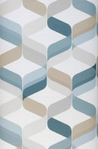 Wallpaper Azuli Matt Retro design Wavy pattern Grey white Light grey Mint turquoise Olive grey Ocean blue