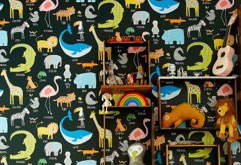 Papier peint My favorite Animals noir