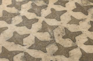 Papier peint Dampa Style batik Imprimé à la main Mat Shabby chic Étoiles Beige Brun sépia