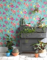 Wallpaper Candice Matt Branches with leaves and blossoms Pastel turquoise Green Green yellow Pearl gold Pink Red