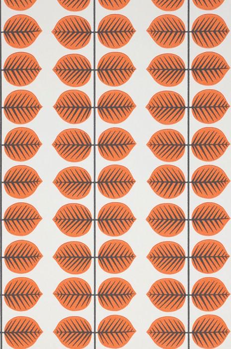 Carta da parati Leonarda Effetto stampato a mano Opaco Foglie stilizzate Bianco Arancio Grigio nerastro