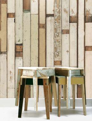 Papel pintado Scrapwood 01 marrón beige Ver habitación