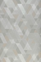 Wallpaper Pegasus Matt Triangles Rhombuses Moss grey Salmon Silver shimmer White