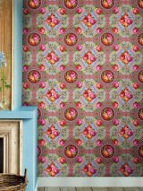 Wallpaper Wabasso Matt Flowers Floral damask Grey Yellow green Light grey Pink Red