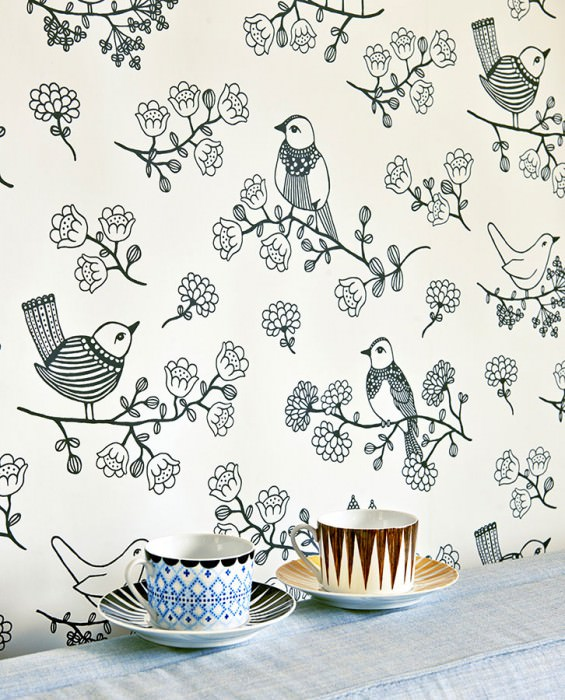 Wallpaper Sugar Tree Hand printed look Matt Flowers Birds Cream Anthracite grey
