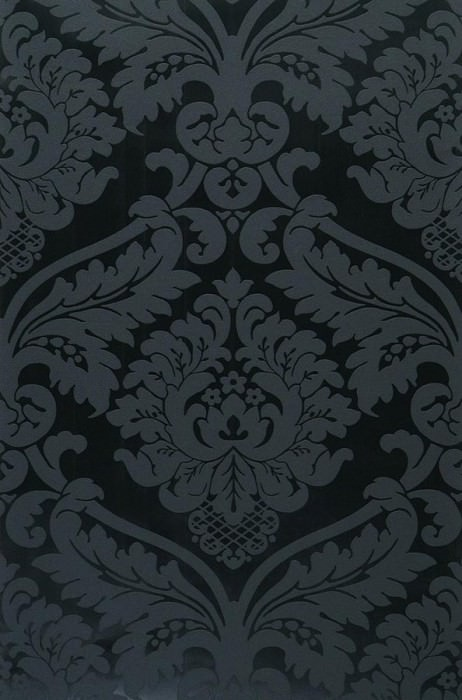 Wallpaper Rajah Matt pattern Shimmering base surface Baroque damask Black shimmer