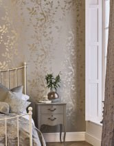 Wallpaper Glorette Hand printed look Shimmering pattern Matt base surface Leaf tendrils Grey white Gold
