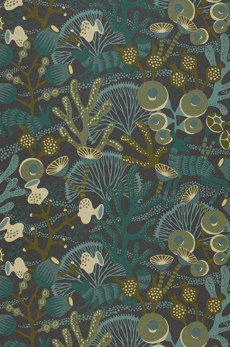 Carta da parati botanica Carta da parati Serena verde scuro Larghezza rotolo