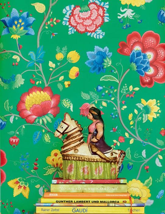 Papel pintado Belisama Mate Hojas Flores zarcillos Insectos Verde Gris beige Azul Amarillo oro Rojo frambuesa Verde pátina