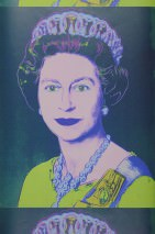Wallpaper Andy Warhol - Queen Matt Queen Elizabeth Ocean blue Dark violet Light yellow green Light pastel blue Light pastel violet Ultramarine
