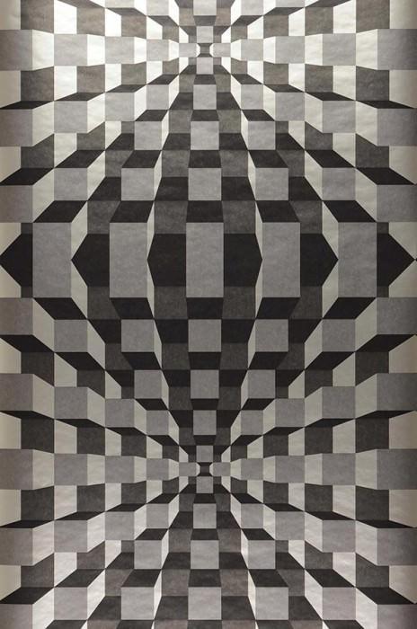 Papier peint Illusion Chatoyant Parallélépipède Gris argent Anthracite Noir  Or blanc lustre