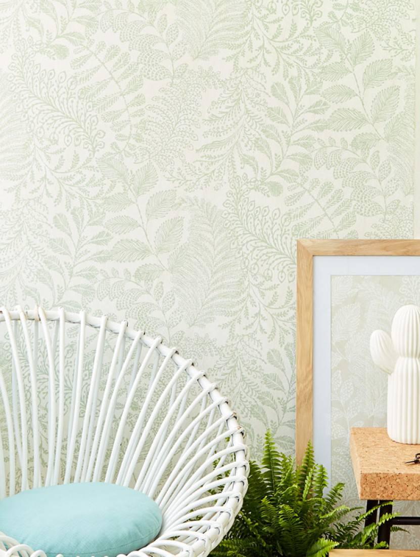 papier peint lioba blanc cr me vert p le papier peint des ann es 70. Black Bedroom Furniture Sets. Home Design Ideas