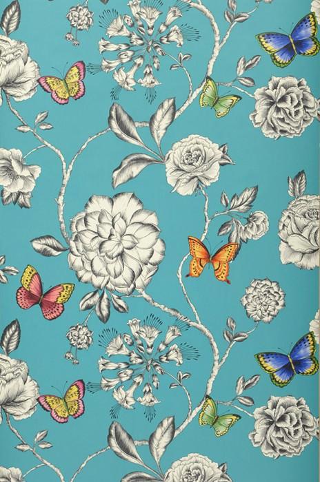 Wallpaper Cordula Matt Flower tendrils Butterflies Turquoise blue Blue Yellow Green Red orange Black grey