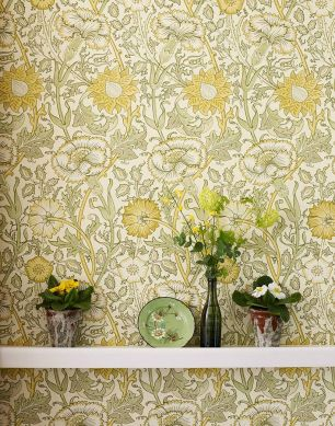 Papel pintado Rhea amarillo ocre Ver habitación