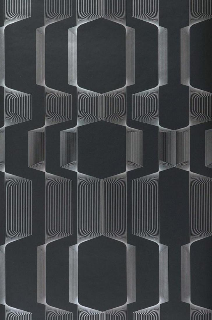 Tapete Nilus (Schwarz, Silber) | Tapeten der 70er
