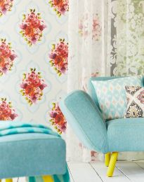 Wallpaper Malona pastel grey blue