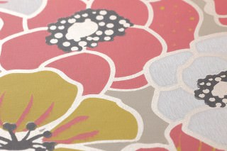 Wallpaper Ashbury Hand printed look Matt Blossoms Light grey beige Cream shimmer Rosè White Lemon yellow