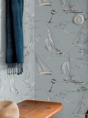 Papier peint Neptunus bleu blanc Vue pièce