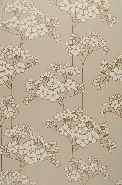 Wallpaper Seschat Matt Flowers Light beige Cream Light brown Orange