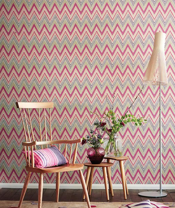 Wallpaper Vasuki Matt Zigzag Beige red Cream Light grey beige Light pink Magenta Crimson violet