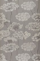 Wallpaper Esoka Matt Flowers Grey Anthracite Grey white Light grey