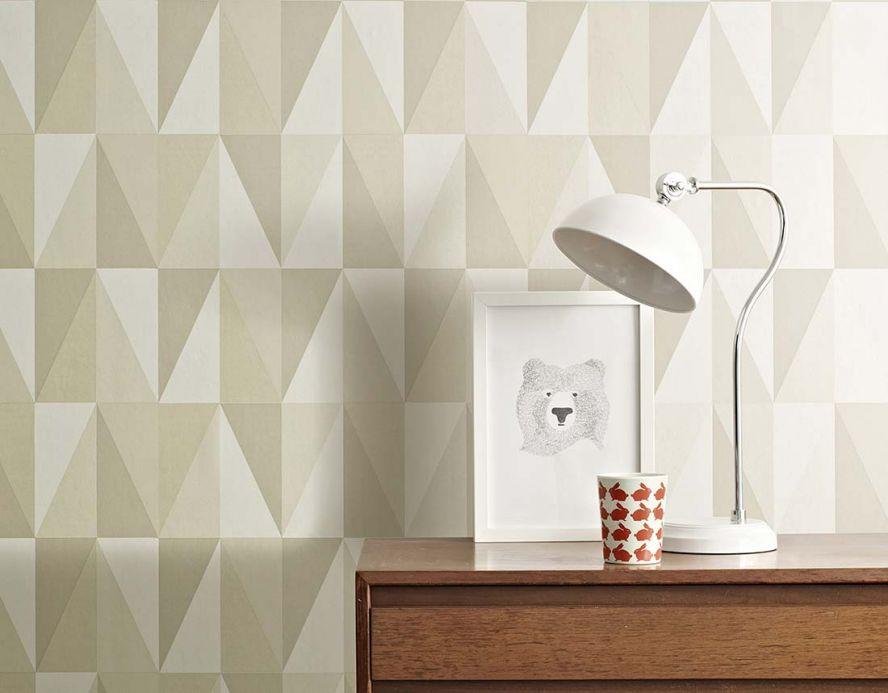 Papel de parede geométrico Papel de parede Lenus cinza seixo Ver quarto