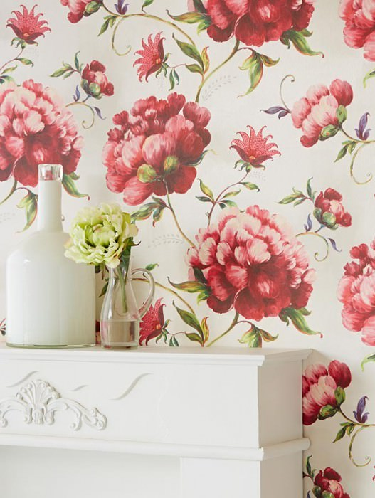 Wallpaper Meila Matt pattern Shimmering base surface Leaves Flowers Cream Yellow green Light pink Red Violet blue