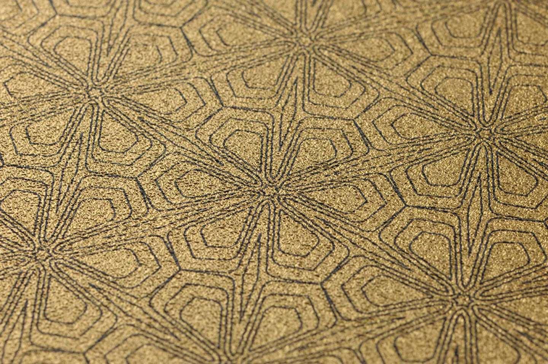 Tapete ladon gold schwarz tapeten der 70er for Tapete gold schwarz