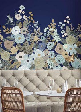 Wandbild Flower Garden Zartblau Raumansicht