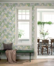 Wallpaper Charlotte Matt Flowers Butterflies Snails Light grey Azure blue Cream Golden yellow Grass-green Mint green