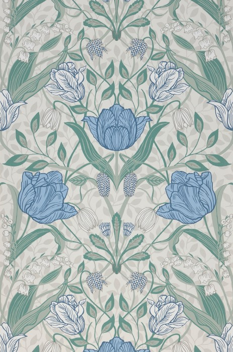 Wallpaper Anita Matt Leaves Flower tendrils Cream Grey blue Mint grey Mint turquoise Pigeon blue White