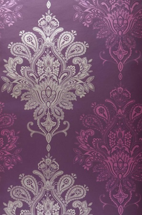 Wallpaper Vasuki Shimmering Baroque damask Dark violet Heather violet Pearl beige