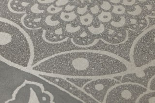 Wallpaper Moron Shimmering pattern Matt base surface Floral damask Silky grey Light beige grey glitter Quartz grey