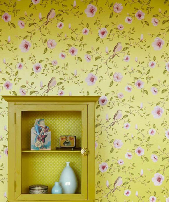 Archiv Wallpaper Sanja yellow green lustre Room View